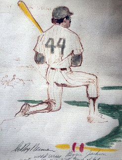 Reggie Jackson 1977 21x17 Works on Paper (not prints) by LeRoy Neiman