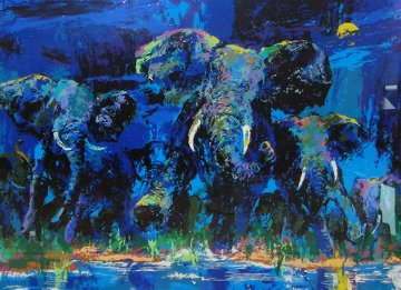 Elephant Nocturne 1984 Limited Edition Print - LeRoy Neiman