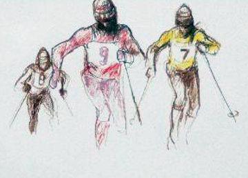 Skiers Watercolor 1984 18x23 Watercolor by LeRoy Neiman