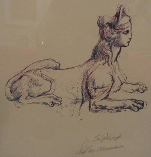 Portrait Study of Sphinx Drawing 1970 Drawing by LeRoy Neiman