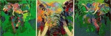 Elephant Triptych Limited Edition Print - LeRoy Neiman