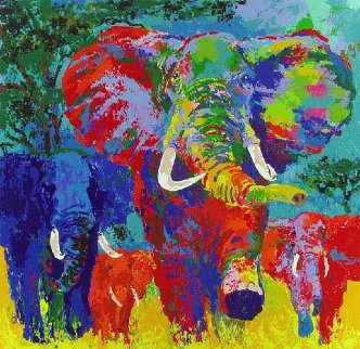 Elephant Charge 1999 Limited Edition Print - LeRoy Neiman