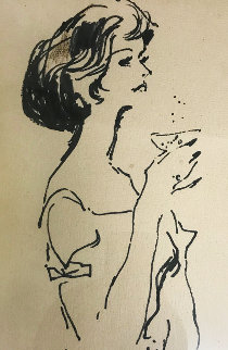 Joni (Joni Mattis) Drawing 1960 18x15 Works on Paper (not prints) by LeRoy Neiman