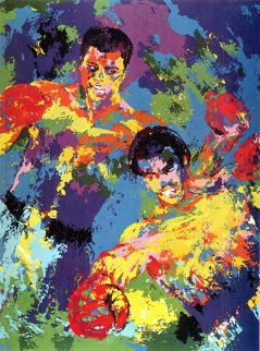 Ali-foreman Zaire (muhammad Ali 1974 3 Signatures Limited Edition Print by LeRoy Neiman