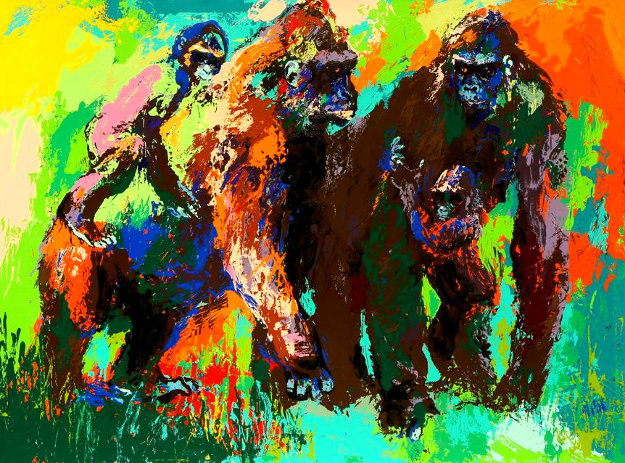 Gorilla Family 1980 Limited Edition Print by LeRoy Neiman
