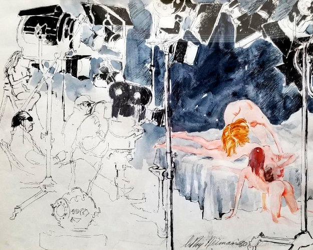 XXX Film Director  1980 21x22 Works on Paper (not prints) by LeRoy Neiman