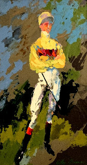 Jockey (Willie Shoemaker) 1969 30x24 Original Painting by LeRoy Neiman