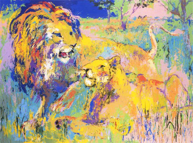 Lion Couple 1981 Limited Edition Print by LeRoy Neiman