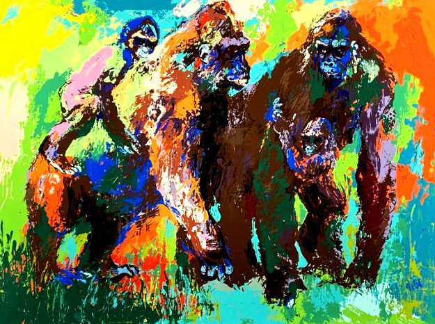 Gorilla Family AP Limited Edition Print by LeRoy Neiman