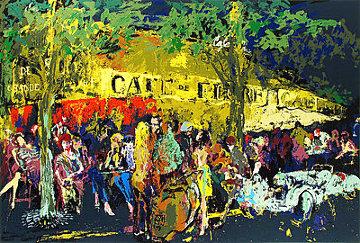 Cafe De Flore La Nuit 1980 Limited Edition Print - LeRoy Neiman