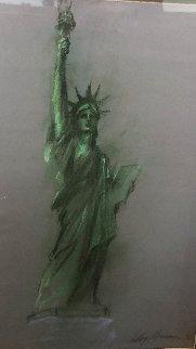 Lady Liberty Original Pastel 36 x 27.25 in, 1986 Original Painting - LeRoy Neiman