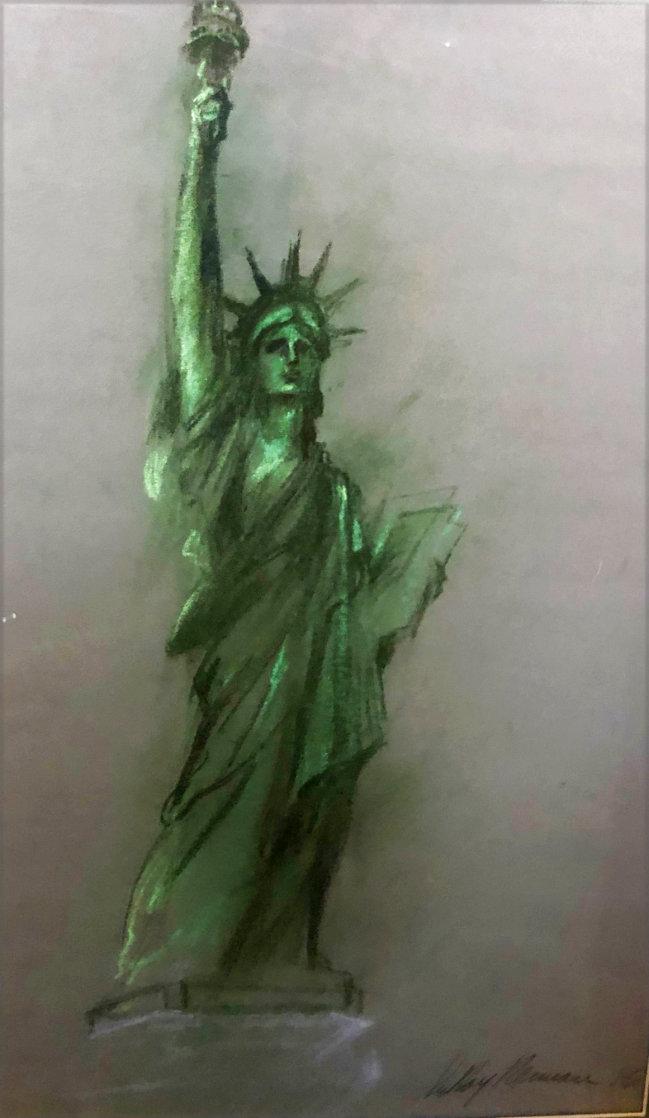 Lady Liberty Original Pastel 1986 36x27 Original Painting by LeRoy Neiman