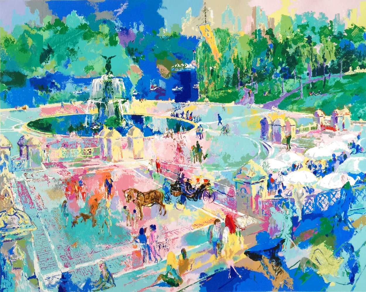 Bethesda Fountain - Central Park 1989 30x38 Huge  Limited Edition Print by LeRoy Neiman