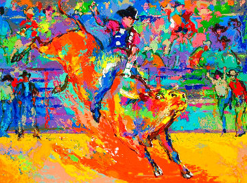 Adriano, World Champion Bull Rider on Little Yellow Jacket 2007 Limited Edition Print - LeRoy Neiman