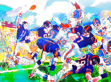 Giants - Broncos Classic Super Bowl 1987 Limited Edition Print - LeRoy Neiman