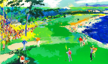 18th At Pebble Beach 1985 Super Huge Limited Edition Print - LeRoy Neiman