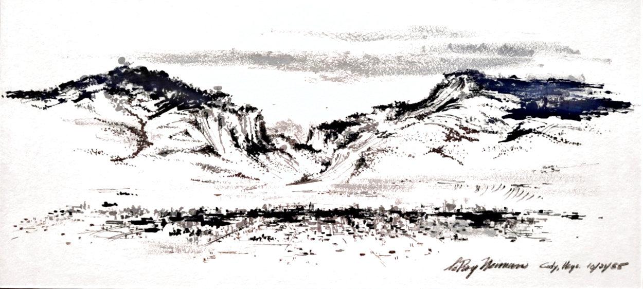Cody, Wyoming 1955 17x29 Original Painting by LeRoy Neiman