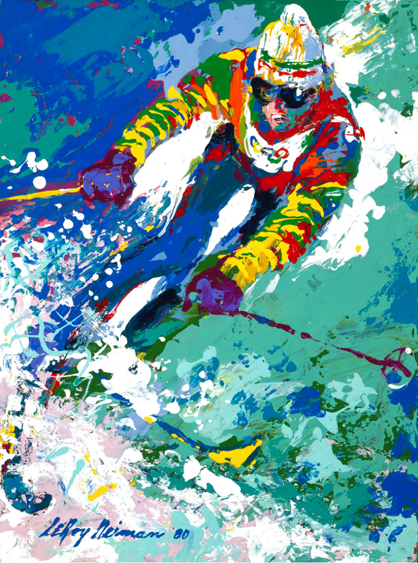 Olympic Skier - Hand Signed Poster 1980 HS  Limited Edition Print by LeRoy Neiman