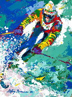 Olympic Skier - Hand Signed Poster 1980 HS  Limited Edition Print by LeRoy Neiman - 0