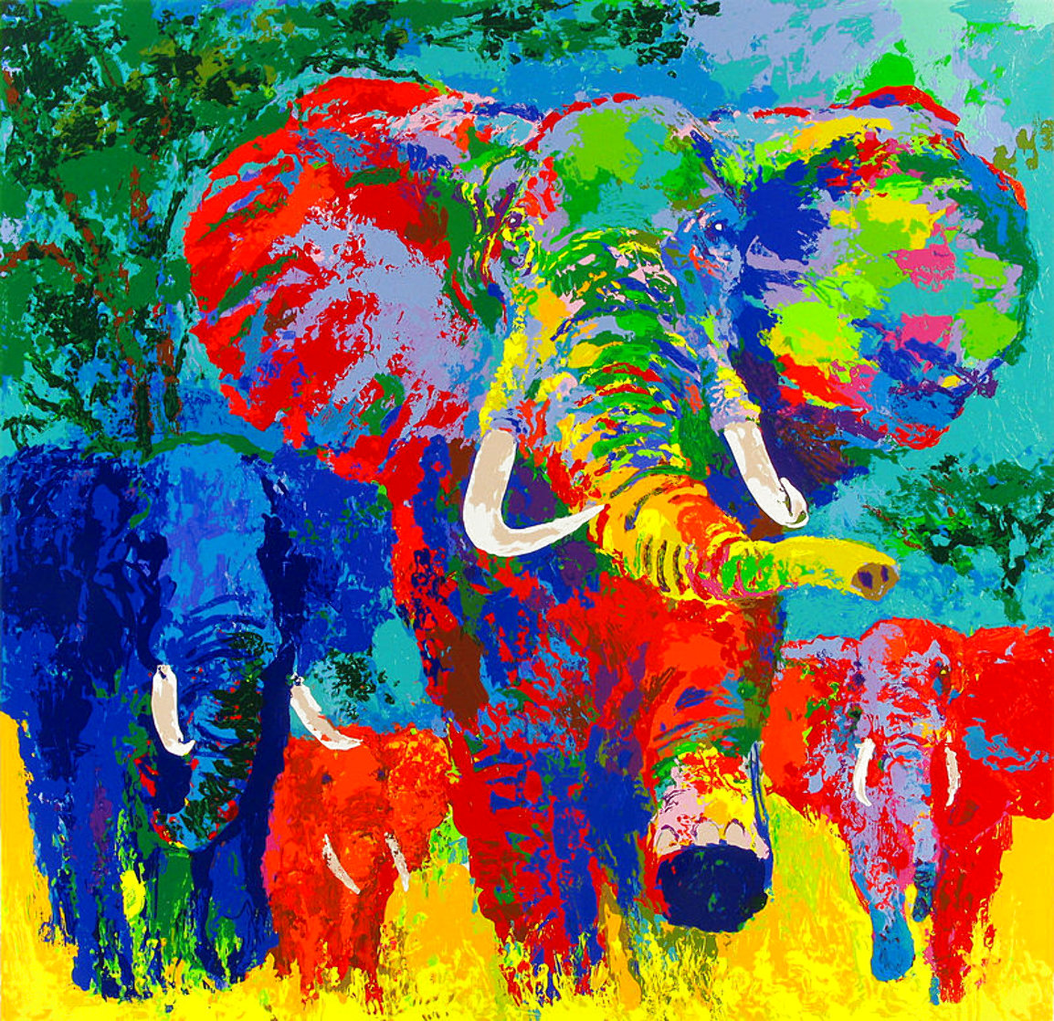 Elephant Charge 1999 AP Limited Edition Print by LeRoy Neiman