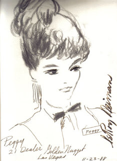Peggy 21 Dealer, Golden Nugget, Las Vegas 1988 13x9 Drawing - LeRoy Neiman