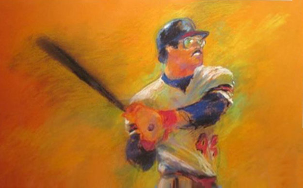 Reggie Jackson Pastel 1983 28x34 Works on Paper (not prints) by LeRoy Neiman