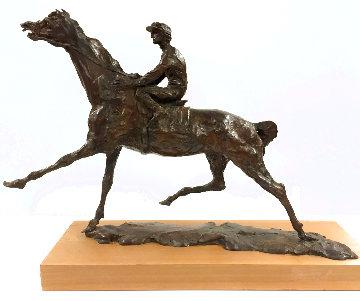 Pulling Up - Horse and Jockey Bronze Sculpture 1977 24 in Sculpture - LeRoy Neiman