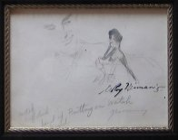 Femlin Putting on Watch Drawing 1958 Drawing by LeRoy Neiman - 1