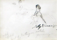 Femlin Putting on Watch Drawing 1958 Drawing by LeRoy Neiman - 0