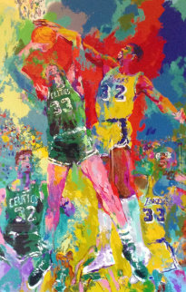 Magic Johnson, Celtics and Lakers (Larry Bird) Limited Edition Print by LeRoy Neiman