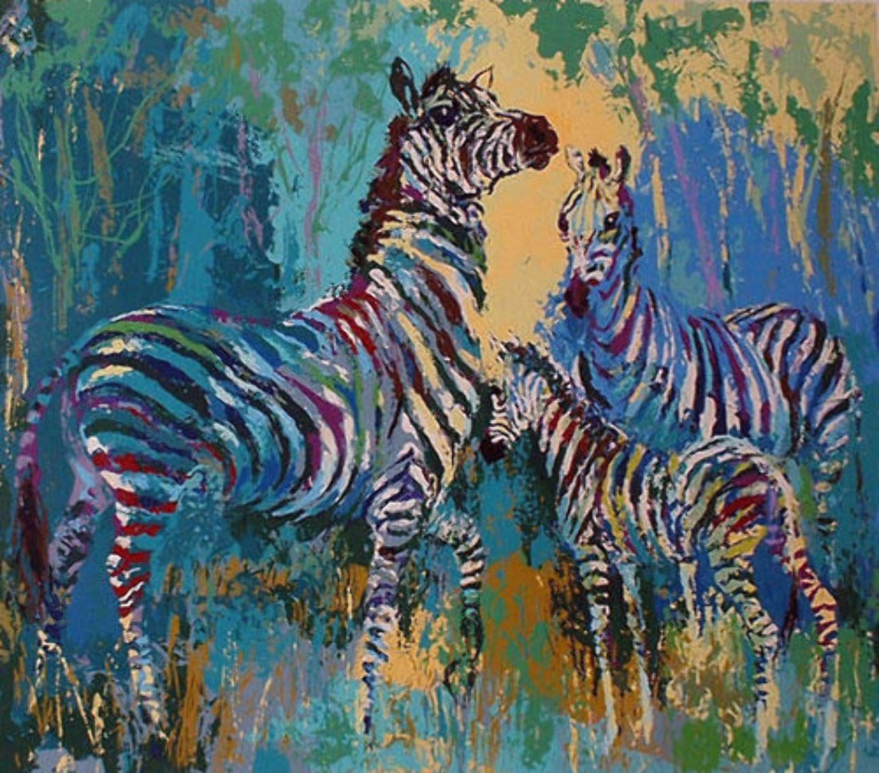 Zebra Family AP 1978 Limited Edition Print by LeRoy Neiman