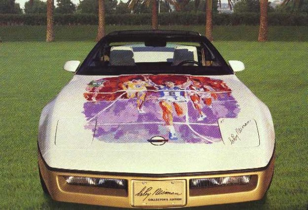 Corvette Hood Original Painting on 1984 Hood Original Painting by LeRoy Neiman
