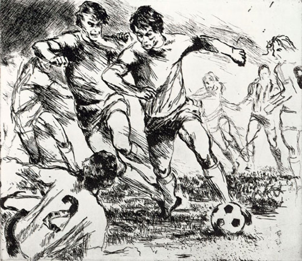 Eaux Fortes etching suite: Soccer Players 1980 Limited Edition Print by LeRoy Neiman