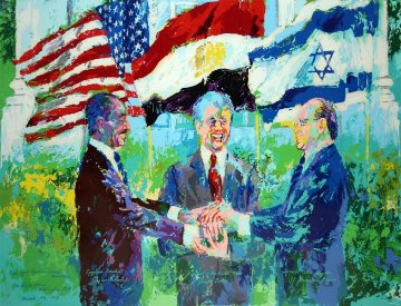 White House Signing of the Egyptian Israeli Peace Treaty 1980 HS by Carter Limited Edition Print - LeRoy Neiman