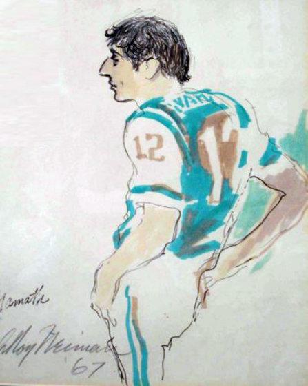 Joe Namath Watercolor 1967 Watercolor by LeRoy Neiman