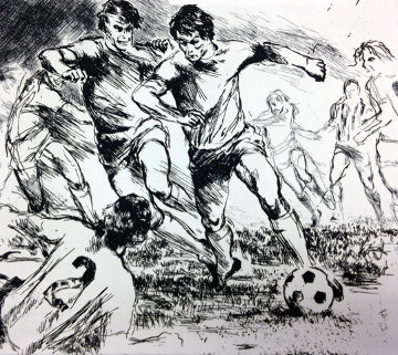 Soccer Etching 1980 Limited Edition Print - LeRoy Neiman