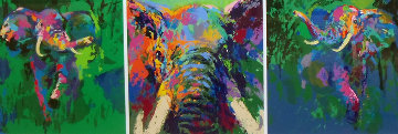 Elephant Triptych 2002 Limited Edition Print by LeRoy Neiman