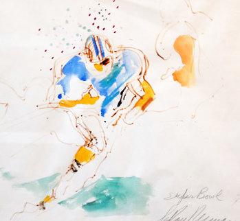Super Bowl 1973 Larry Csonka Watercolor   29x32 Watercolor by LeRoy Neiman