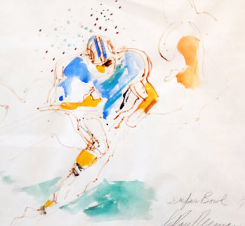 Super Bowl 1973 Larry Csonka Watercolor   29x32 Watercolor - LeRoy Neiman