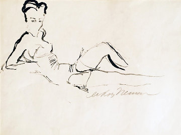 Reclining Woman Drawing 1959 26x30 Drawing by LeRoy Neiman