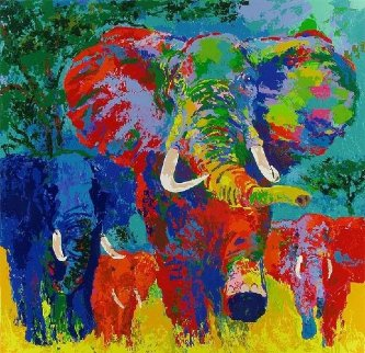 Elephant Charge AP 1999 Limited Edition Print - LeRoy Neiman