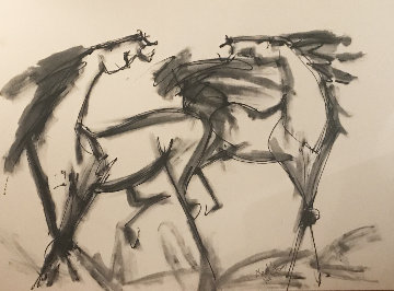 Two Large Horses  30x48 Original Painting by Neith Nevelson