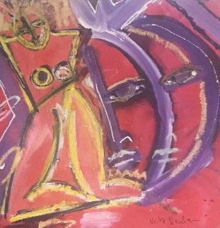 A Woman And Two Faces 2012 18x18 Original Painting by Neith Nevelson