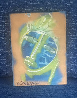 Blue Face 2012 12x9 Original Painting by Neith Nevelson - 1