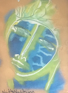 Blue Face 2012 12x9 Original Painting by Neith Nevelson