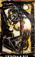 Untitled Female Nude 1992 14x7 Original Painting by Neith Nevelson - 1