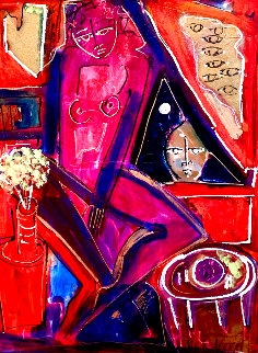 Untitled Painting 1991 28x20 Original Painting - Neith Nevelson