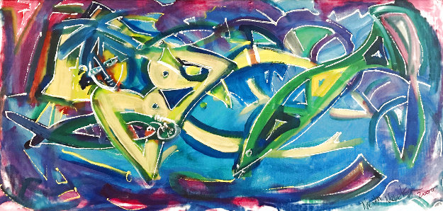 Untitled Painting 2000 26x53 Original Painting by Neith Nevelson