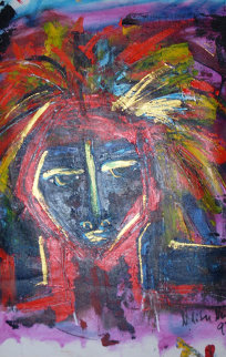 Untitled Portrait 1997 22x14 Original Painting - Neith Nevelson