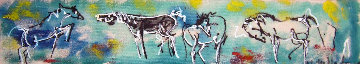 Untitled Horses 1997 3x17 in Original Painting by Neith Nevelson